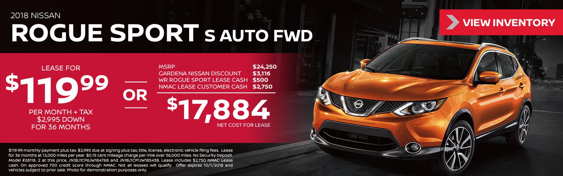 2018 Nissan Rogue Sport $119.99 per month