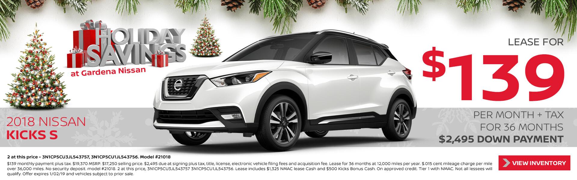 Nissan Kicks $139 Lease
