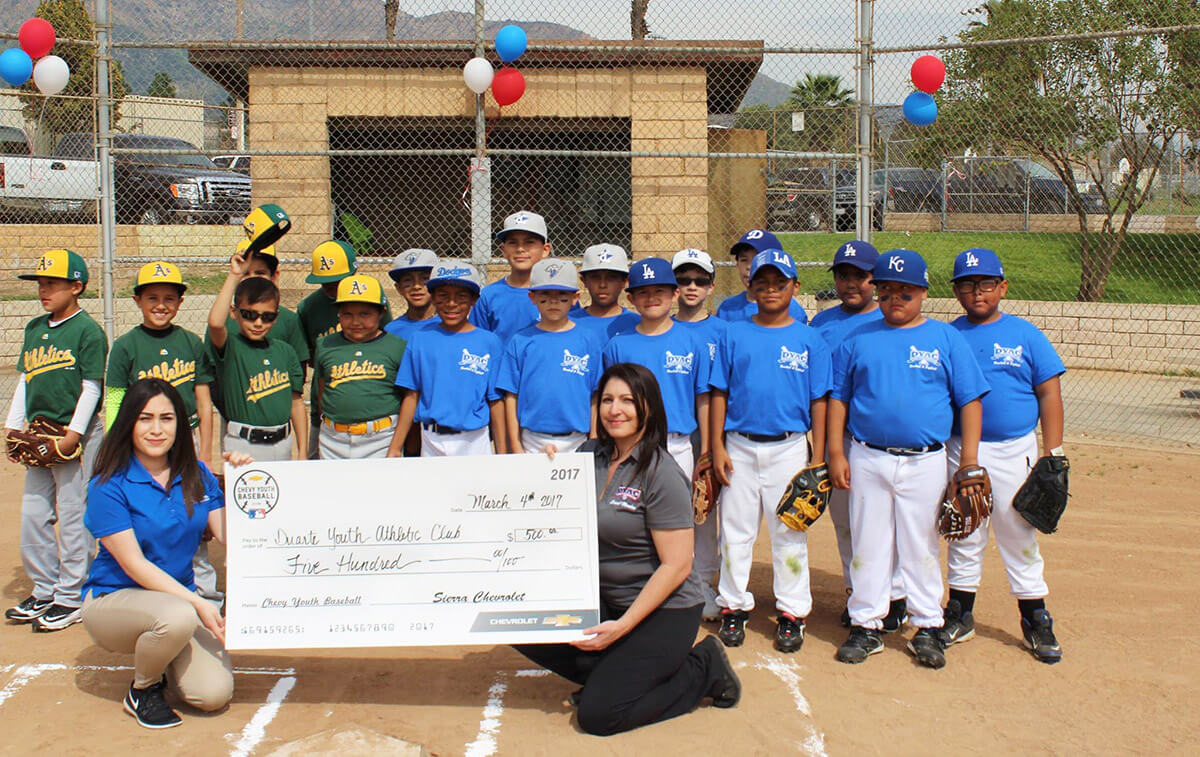 Duarte Youth Athletic Club and Sierra Chevrolet Check Presentation