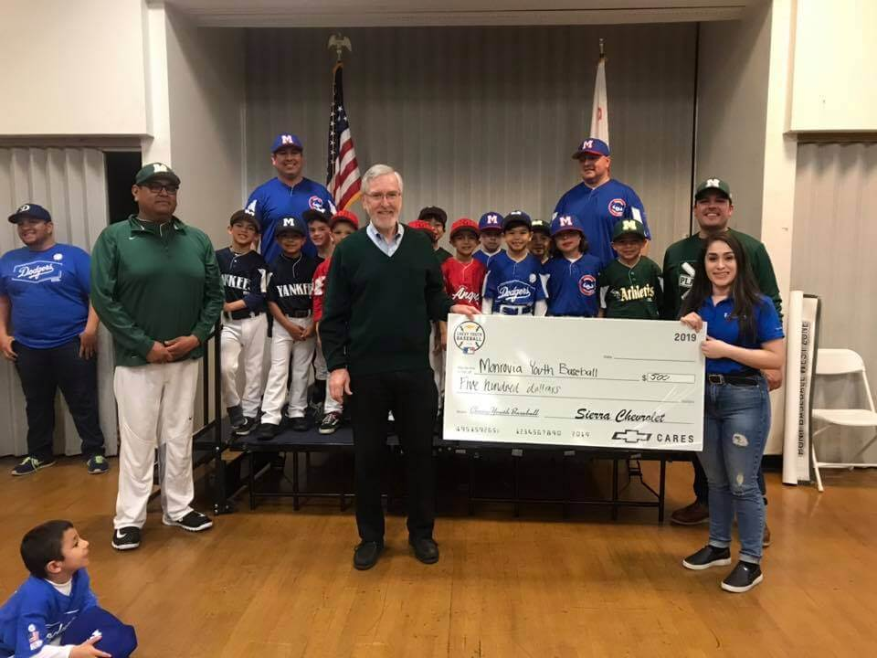 Duarte Youth Athletic Club and Sierra Chevrolet Check Presentation