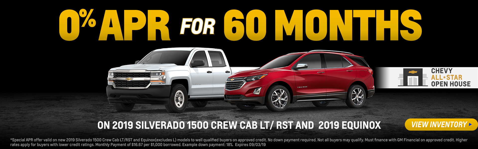 0% APR Financing for 60 months on