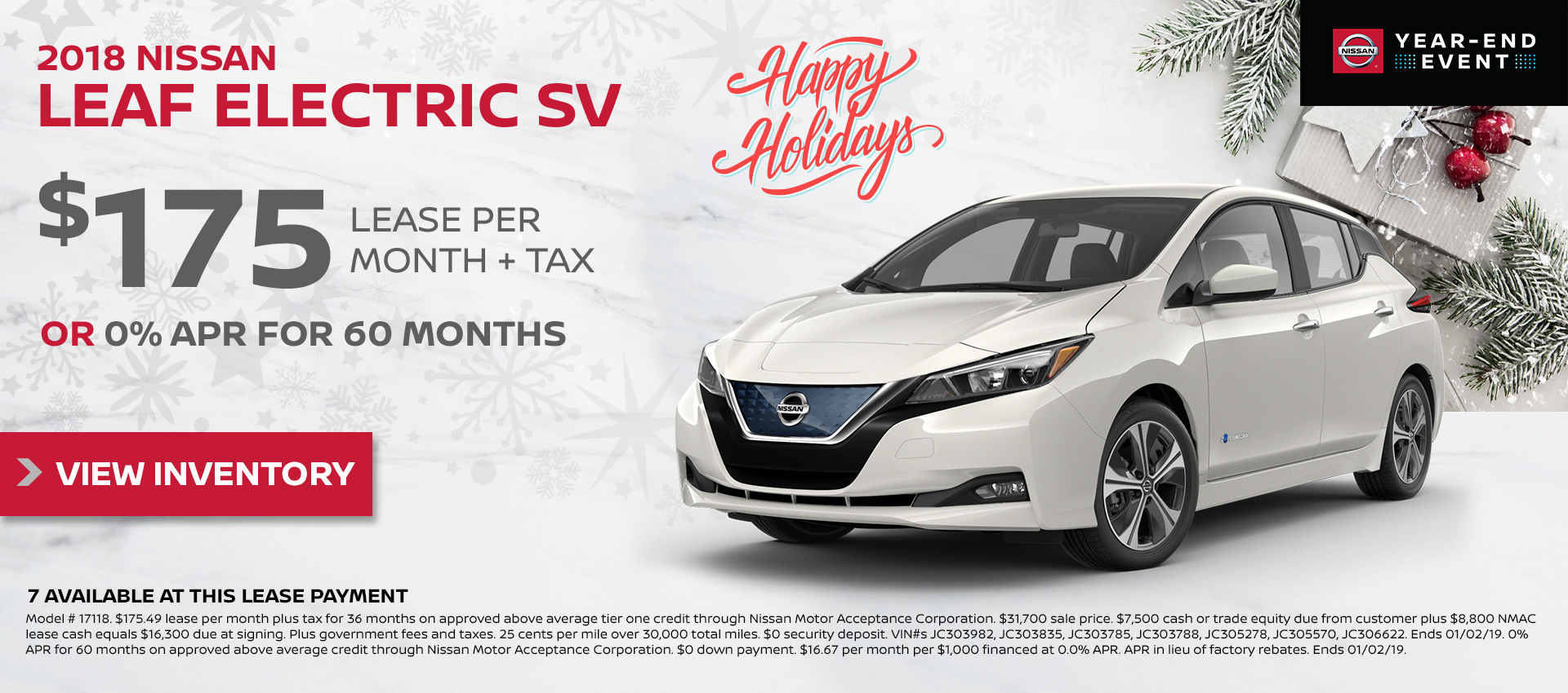 Mossy Nissan - Leaf $175 Lease HP