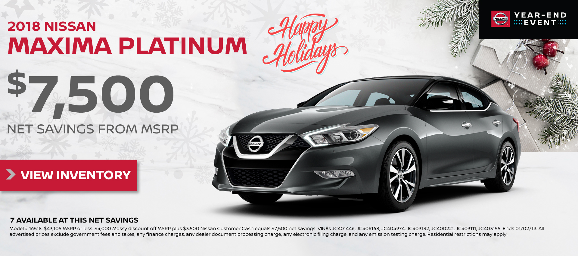 Mossy Nissan - Nissan Maxima $7,500 Off MSRP HP