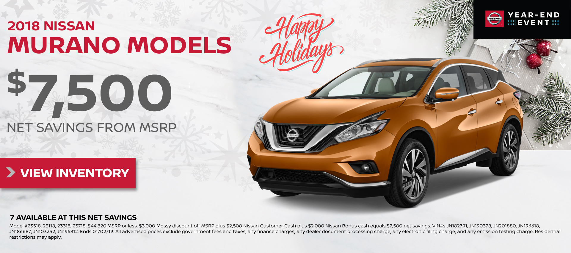 Mossy Nissan - Nissan Murano $7,500 Off MSRP HP