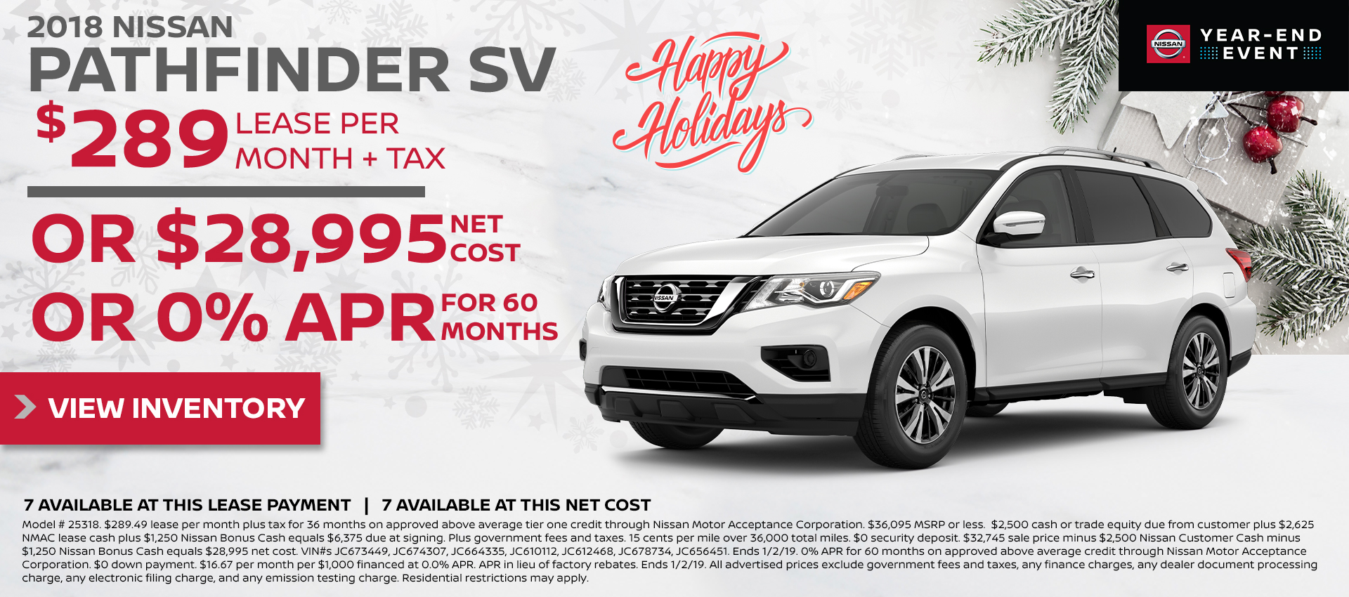 Mossy Nissan - Nissan Pathfinder $199 Lease HP