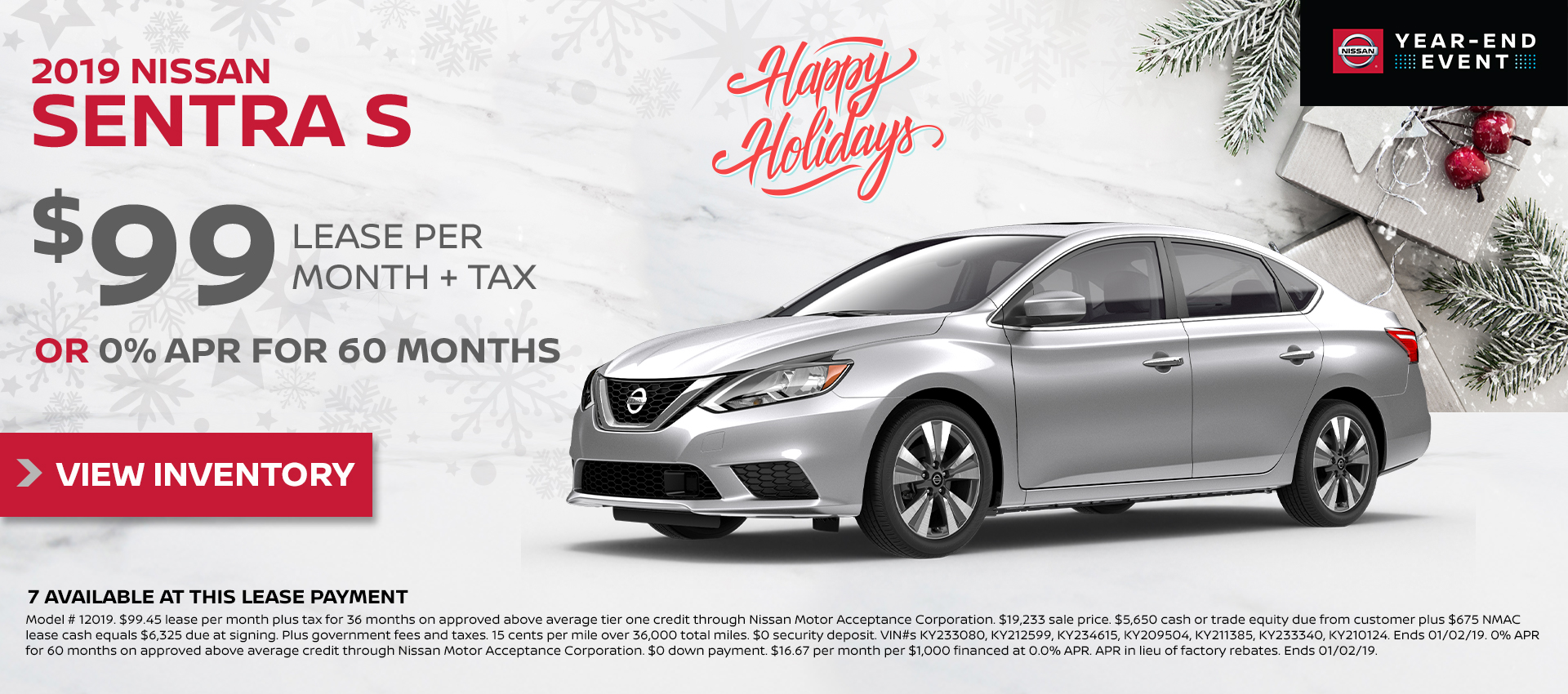 Mossy Nissan - Sentra $99 Lease HP