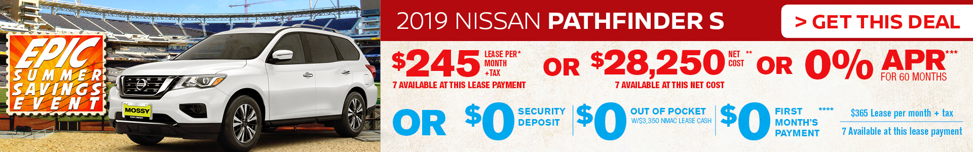 Mossy Nissan - Nissan Pathfinder $245 Lease