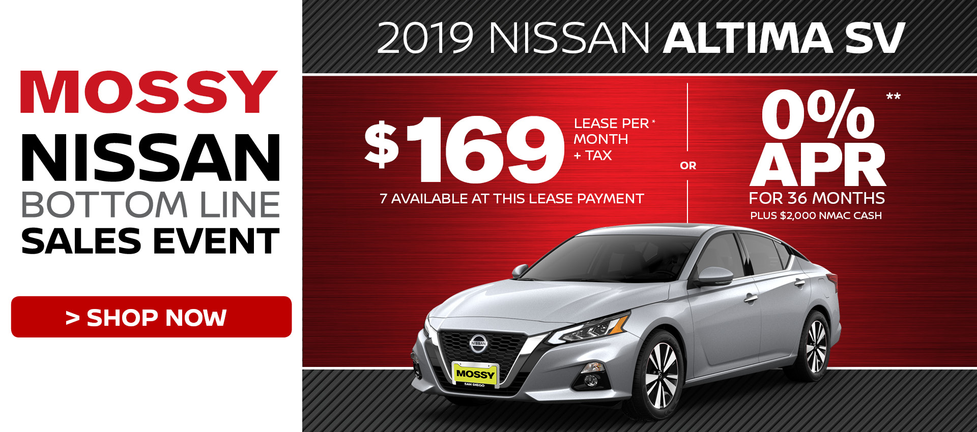 Mossy Nissan - Nissan Altima SV $169 Lease HP