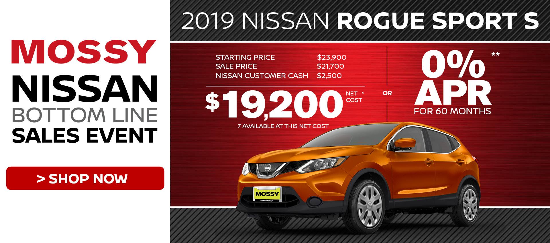 Mossy Nissan - Rogue Sport $19,200 Purchase HP