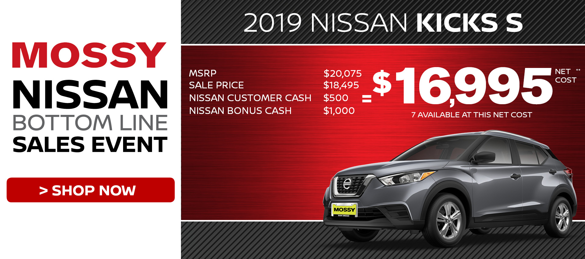 Mossy Nissan - Nissan Kicks $16,995 Purchase HP