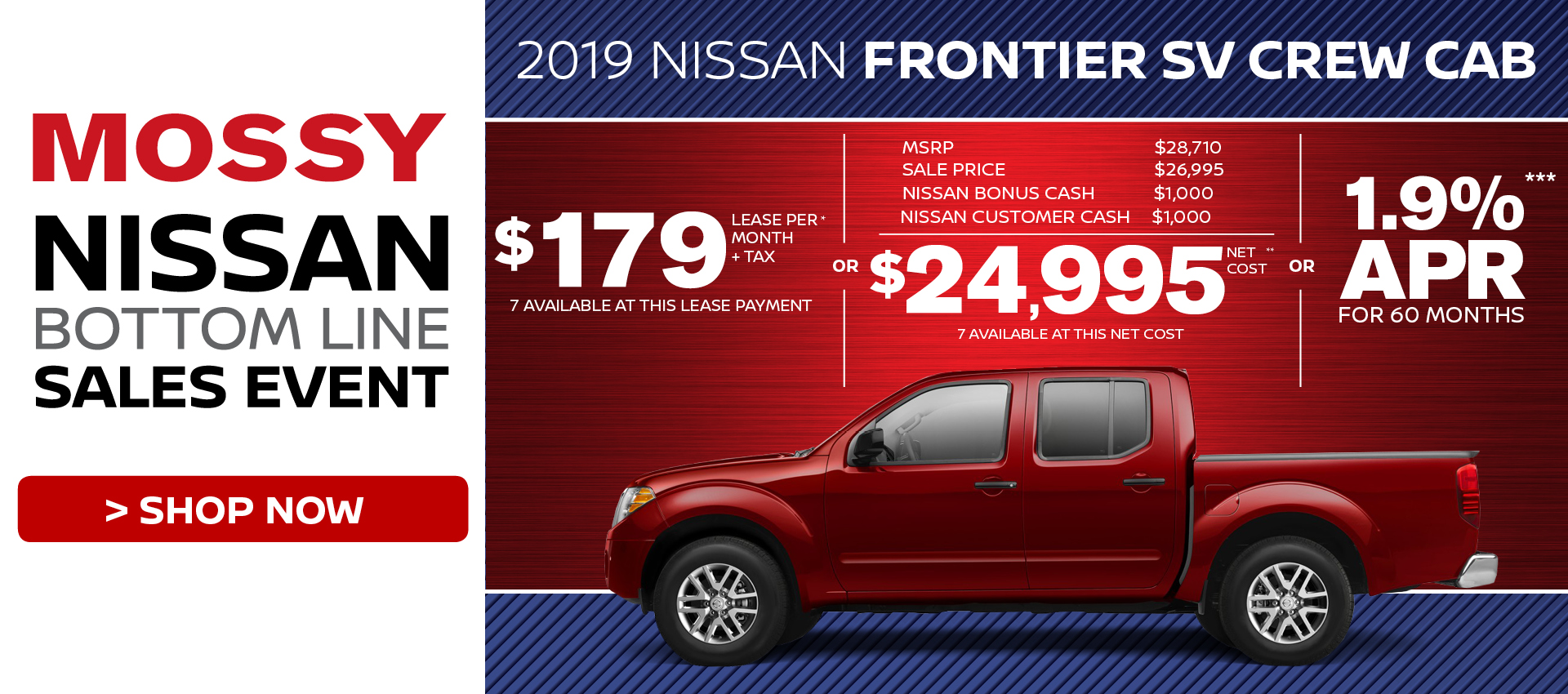 Mossy Nissan - Nissan Frontier $24,995 Purchase HP