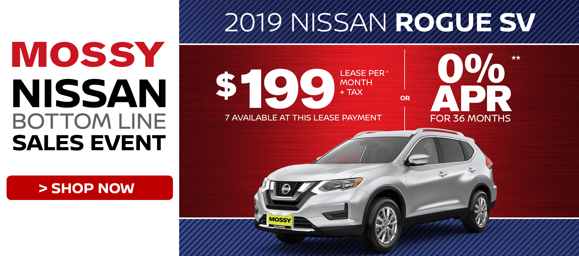 Mossy Nissan - Nissan Rogue SV  $199 Lease HP