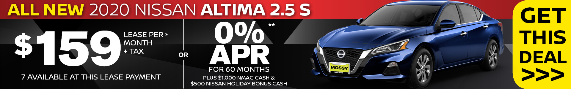 Mossy Nissan - Nissan Altima $159 Lease SRP